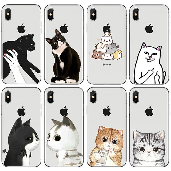 [TongTrade] For iPhone X 8 7 6s 5s Plus Case Cover Cartoon Animal Middle Finger Cat Pattern Silicone TPU Galaxy S9 S8 S7 S6 Edge Plus Case