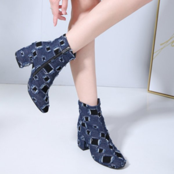 2018 Woman Shoes Sexy cowboy Splicing Zip Up Square High Heels Party Women Boots Winter