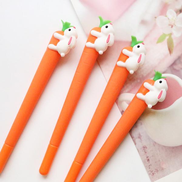 Kawaii Rabbit Carrots Cute Cartoon GEL Pen Black 0.5mm Promotional Gift School Writing Office Supplies Korean Stationery Student