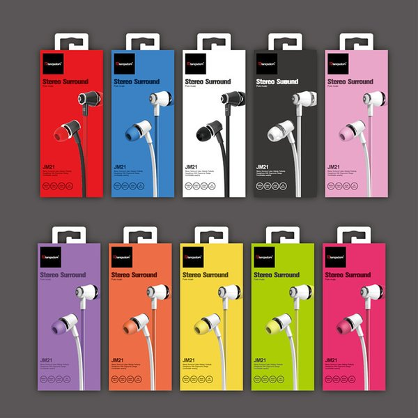 Langsdom JM21 Earphone With Micphone Colorful Headset Hifi Earbuds Bass Earphone For iPhone 5 6 Samsung S8 S9 LG with Retail Package