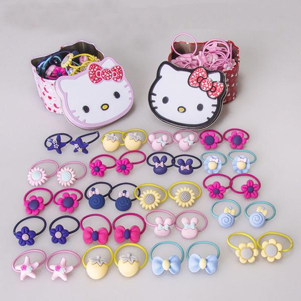 40pcs/box Girls Hair bands Fashion Hello Kitty Hair accessories Headband Children kids Rubber band