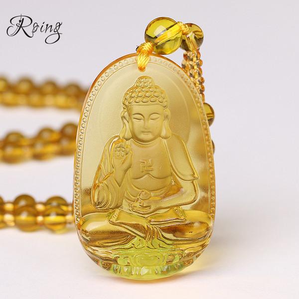 Roing Citrine Collar Colgante de Piedra Natural Buddha Guardian Bead Cadena Regalo Afortunado Para Mujeres Hombres Cristalería de Gravedad Joyería F003