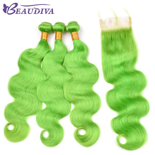 Beau Diva Pre Colored Green Hair Body Wave Bundles With Lace Closure 100% Remy Brazilian Human Hair Bundles With Closure 4*4 inch
