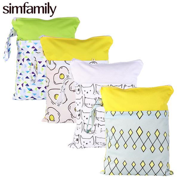 [simfamily]1PC Reusable Fashion Prints Wet Dry Diaper Bag Double Pocket Cloth Handle Waterproof Wet bags 30*40CM Wholesale Bag