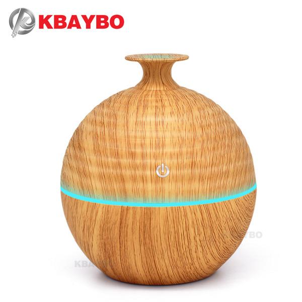 KBAYBO 130ml USB Evaporative Humidifier Aroma Diffusers Essential Oil Diffuser Aromatherapy mist maker LED Light Wood grain