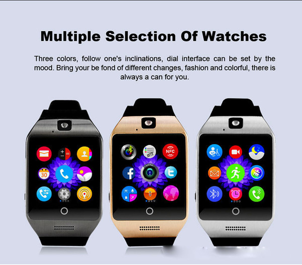 Q18S Smart Watch Bluetooth Smart watches for Android Cellphones Support SIM Card Camera Answer Call and Set up Various Language with Box