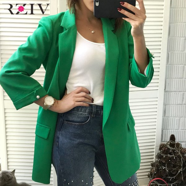 RZIV 2018 Autumn coat women blazers and jackets solid color blazers & suits leisure suit beaded decoration long section coat S18101305