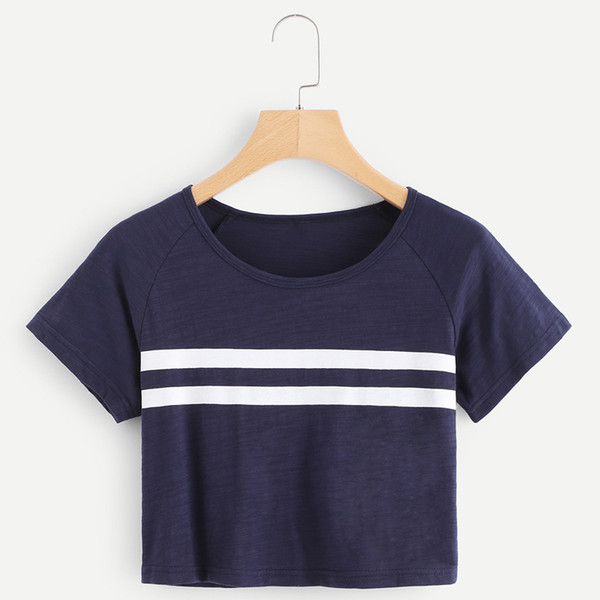 Striped Round Neck Short Sleeve Blue Casual Women T Shirts Cotton Polyester Knitted Short Streewear Summer Women Tees Tops Femme