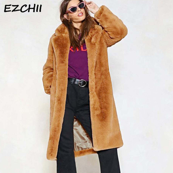 Women Faux Fur Coat Elegant Shaggy Plush Coat X-Long Style Streetwear Autumn Winter Warm Female Jacket Overcoat Brown Size S-3XL