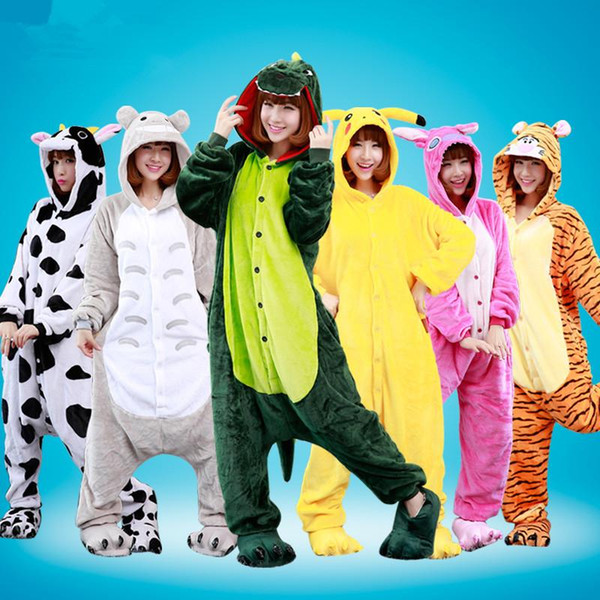 Autumn spring winter flannel women animal pajamas one piece cartoon sleepwear lovers couples cheap adult animal onsies kugurumi