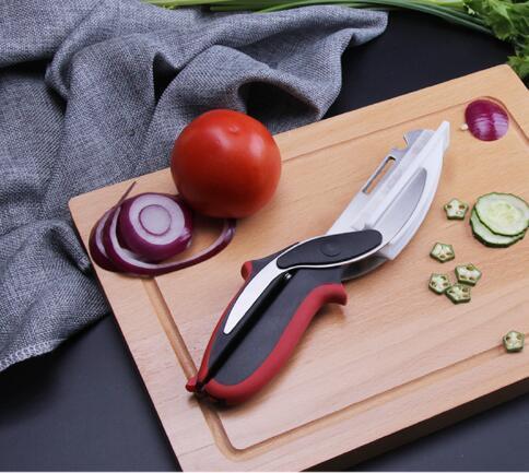 Spedizione gratuita intelligente taglierina 4 in 1 carne Coltelli da cucina forbici intelligente verdura coltello da cucina uso esterno