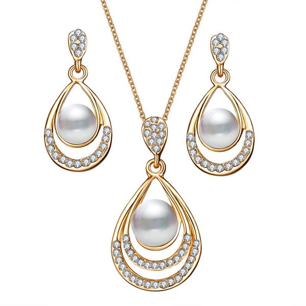 Brinco Bridal Simulated Pearl Jewelry Sets Women Fashion Oval Necklace Crystal Earrings For Wedding Party Accessories Gifts YMCJT009