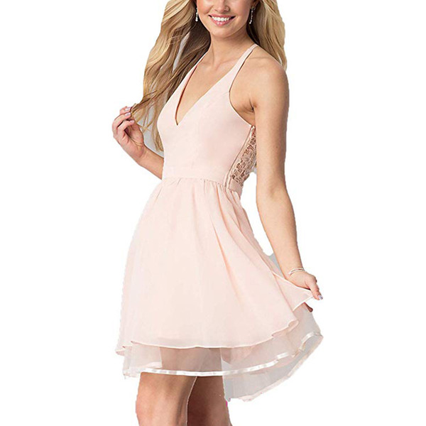 2018 Sexy V-neck A-line Short Homecoming Dresses Chiffon With Lace Mini Graduation Prom Cocktail Dress for Party Wear