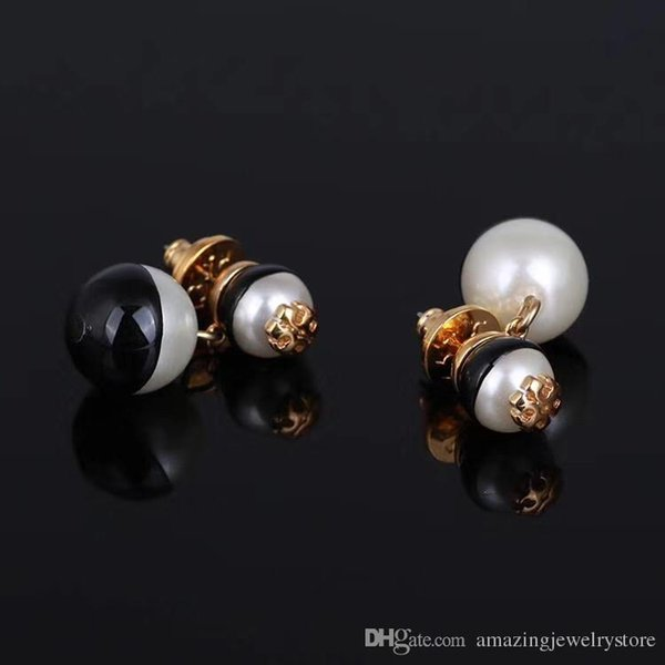 New arrival Top brass material Brand name black and white large Pearl beads in 1.5cm and smaol 0.8cm stud Earring 18k gold plated women dro