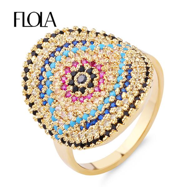 FLOLA Top Quality Full-Zircon Big Shield Plate Ring Turkish Evil Eye Inlay Valentine Present Finger Ring Ethnic Jewelry rigf15
