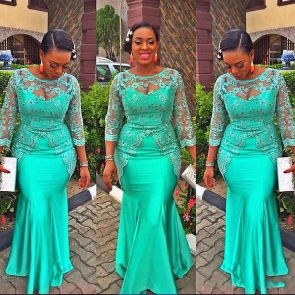 Aso Ebi Green Long Sleeves Evening Gowns Sheer Neck Lace Appliques Beads Mermaid Prom Dress African Plus Size Party Dress Formal Vestidos