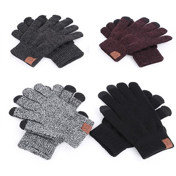 Latest Design Promotional Soft Warm Knitted Winter CC Gloves Wool Lined Texting Winter Warm Touch Screen Gloves for Women Men