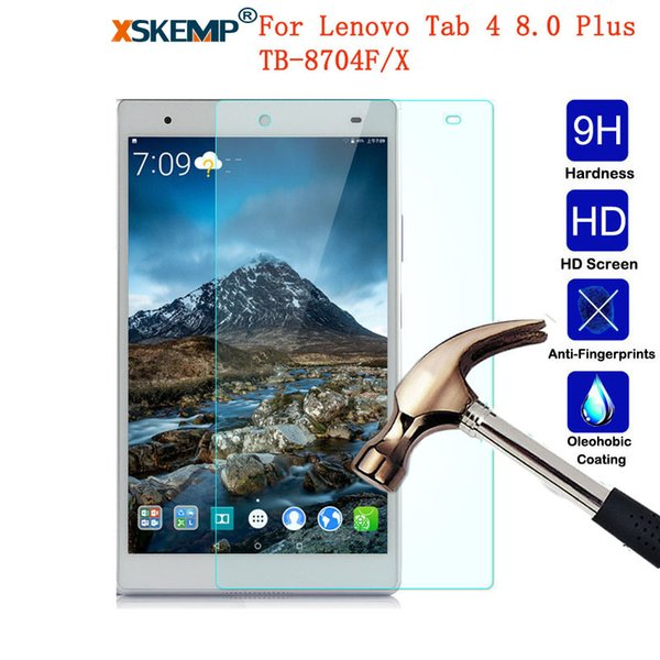 XSKEMP 9H Real Tempered Glass For Lenovo Tab 4 8.0 Plus TB-8704F/X Anti-Scratch Explosion proof LCD Screen Protector Tablet Film