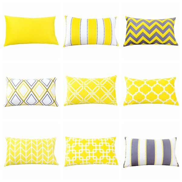 Wholesale Home Decor Velvet Pillow Cover Yellow Grey Geometric Cushion Cover 30*50cm Sofa Car Decorative Lumbar Pillow