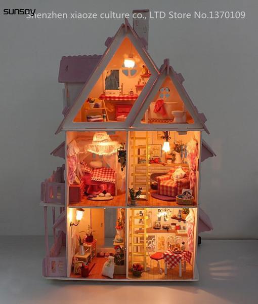 Fai da te Modello Sole Alice Casa di bambola Spedizione gratuita Assemblare Villa Bambola Casa / Mobili in legno Giocattoli in legno Casa delle bambole in miniatura