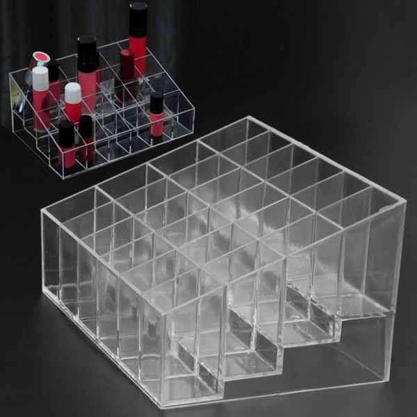 24 Grid Lipstick Jewelry Box Case Holder Acrylic Makeup Organizer Storage Box Cosmetic Display Stand make up Storage Case