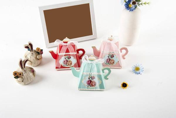 Teekanne Form Süße Pralinenschachtel Mit Band Kreative Pralinenschachtel Rose Gedruckt Zuckerdose Hochzeitsfestbevorzugung Geschenkbox
