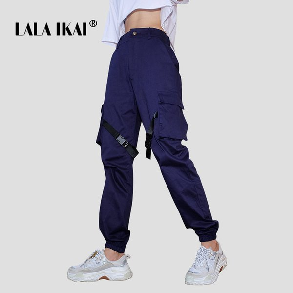 LALA IKAI Women High Street Pant Blue Ins Multi Pocket Cargo Pants Girls Streetwear Hip Hop Dancer Trousers Ladies SWB1865-47