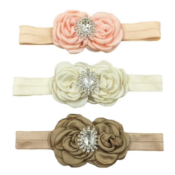 satin curled flowers with diamond Cute baby girls hair accessories,beautiful princess headband!