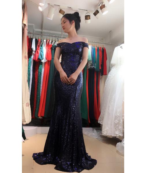 Compre 2018 Off The Shoulder Mermaid Vestidos De Noche Largos Tul Con Lentejuelas Vestidos De Noche Formales Por Encargo Vestidos De Fiesta De