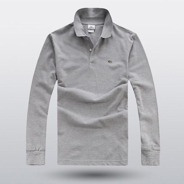 2018 crocodilo dos homens camisas de polo moda estilo outono inverno marca listrada manga longa polo camisa dos homens de negócios camisas de algodão