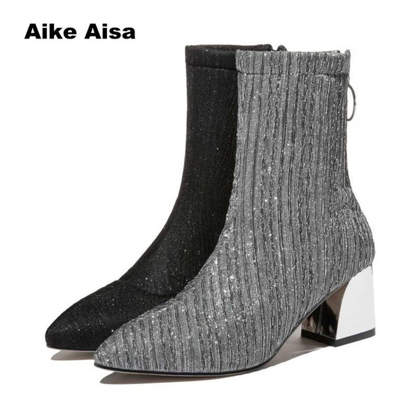 2019 Stretch Knit Women Sock Boots Fashion Striped High Heel Mid-Calf Winter Shoes Fabric Botas Feminina Ankle Sequined Cloth
