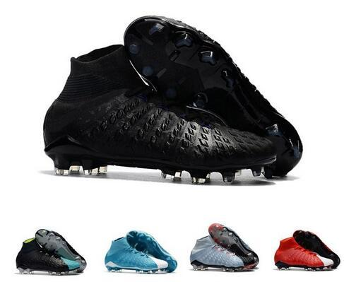 2018 New mens soccer cleats Hypervenom Phantom III EA Sports FG soccer shoes soft ground football boots cheap Rising Fast Pack neymar boots