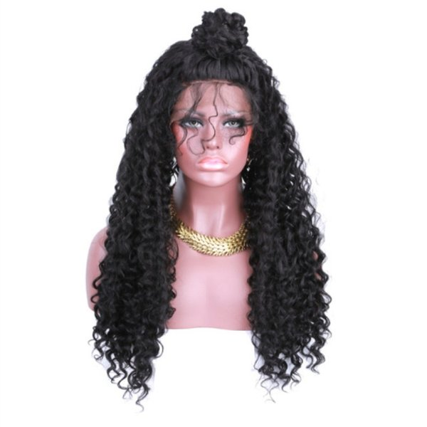 Free Shipping Long Kinky Curly Synthetic Lace Front Wigs With Baby Hair For Women Black Heat Resistant Glueless Natural Afro Hair Cheap Wig