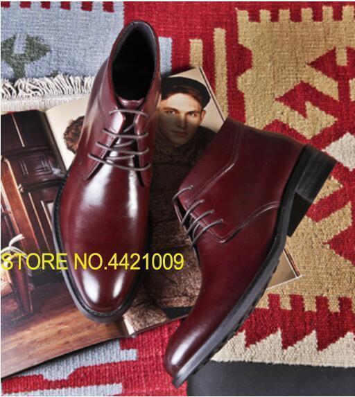 Cordones de invierno para hombres Zapatos de trabajo Zapatos de tobillo Zapatillas de deporte de moda Pisos Botas de motocicleta de cuero genuino Vino negro Oxfords