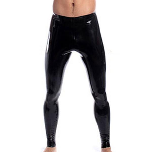 High Stretch Mens Black Faux Leather Latex Pencil Leggings Very Slim Wetlook Bondage Pants Gay Male Fashion Slim Sexy Lingerie