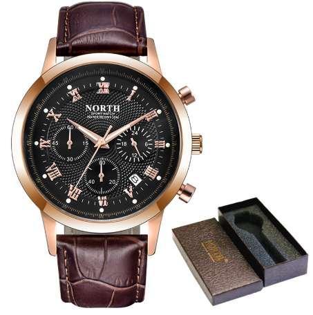 NORD Herren Chronograph Uhren Männer Top-Marke Luxus Quarzuhr Gold Leder Sport Casual Militäruhren Relogio Masculino