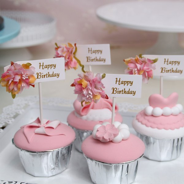High Quality Multi-color Cupcake Cake Happy Birthday Topper Flowers Cake Flags For Wedding Party Baking Decoration Supplies
