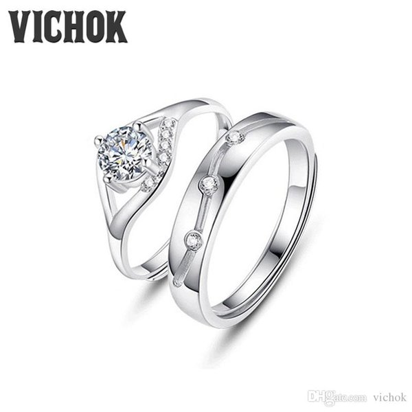 925 Sterling Silver Couple Ring Opening Design Platinum Plated For Women Men Anniversary Jewelry Gifts Adjustable Rings VICHOK