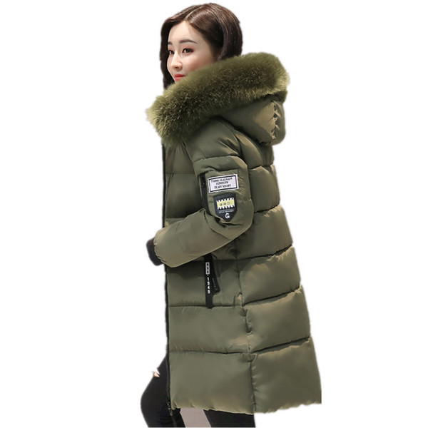 top popular Warm Fur Fashion Hooded Quilted Coat Winter Jacket Woman 2017 Solid Color Zipper Down Coon Parka Plus Size 3XL Outwear C3748 2019