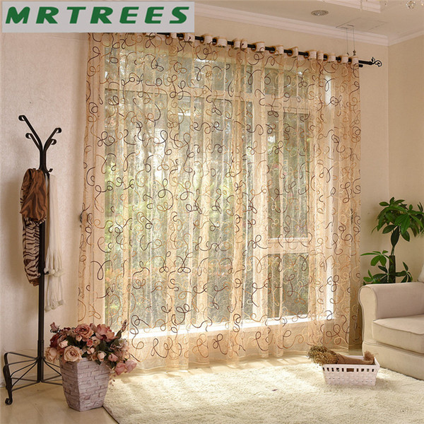 Modern Embroidered Sheer Curtains Window Tulle Curtains for Living Room Bedroom Kitchen White Voile for window Drapes