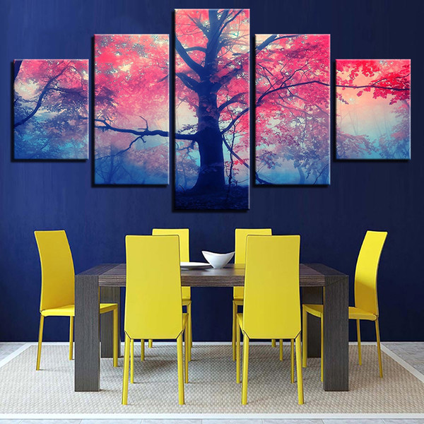 Wall Art Framework Living Room Decor Canvas Paintings 5 Pieces Red Pink Trees Maple Landscape Poster Abstract Pictures HD Prints