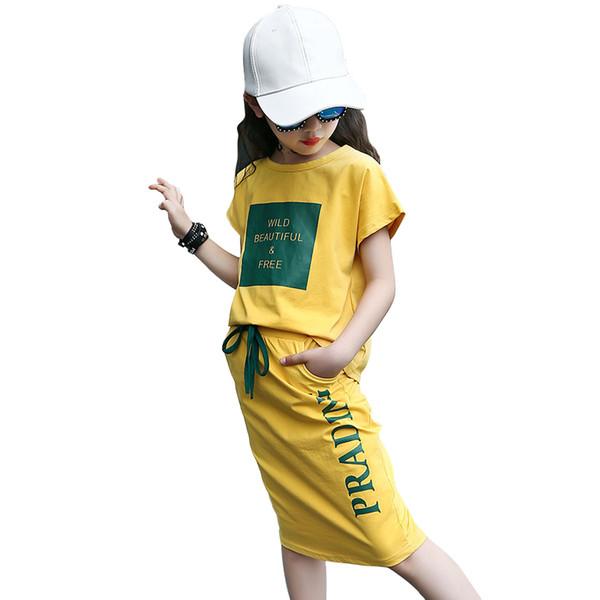 Sommerbaumwollbaumwollloser T-Shirt Buchstabedruck des losen Rockes 2 PC stellt 6-16 Jahre große Mädchen Schulsportartkleidung 2018 ein