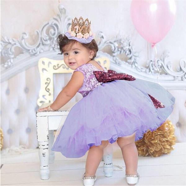 Principessa backless prua oro per battesimo abito per baby dress battesimo battesimo 1 ° compleanno festa vestito infantile tutu vestido