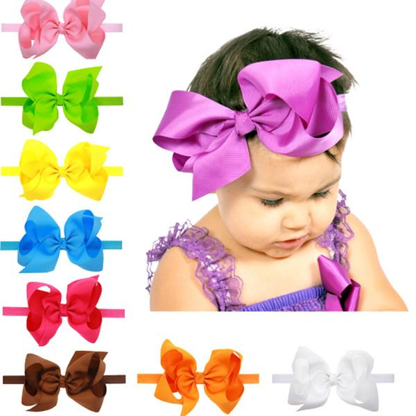 Baby Bows Headbands Kids Ribbon Elastic Headbands for Girls Children Hair Accessories Double Bowknot Hairband 16 Color LC695-1