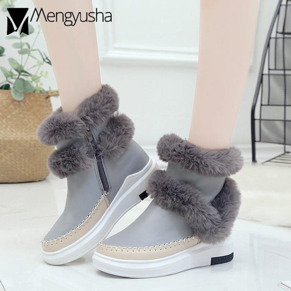 New Fashion genuine hair leather snow boots handmade sewn wedges bootines winter warm plush double fur shoes ankle boots women