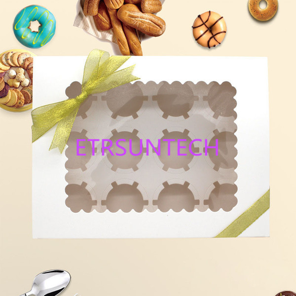 Cupcake Box With Window White Brown Kraft Paper Boxes Dessert Mousse Box 12 Cup Cake Holders QW7817