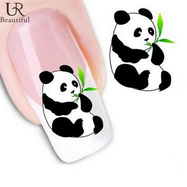 Wholesale- 1 sheet New Design 3d Water Transfer Printing Nail Art Sticker Decals Cute Panda Decoration DIY Nail Styling Tools STZ045