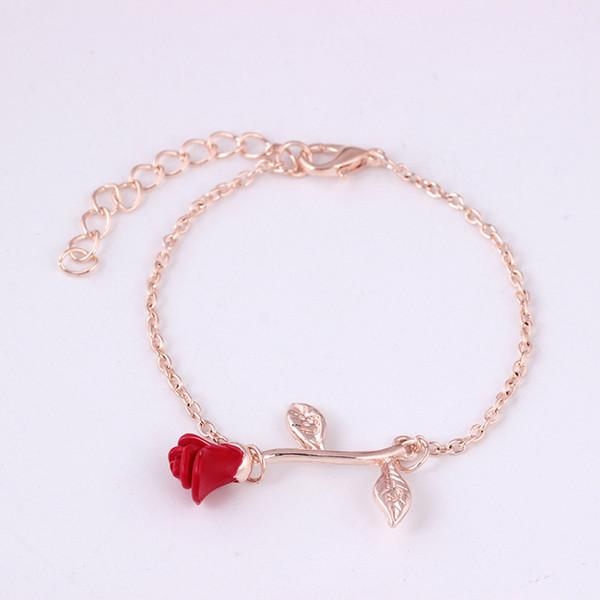 Rose Charms Bracelets for Elegant Women Silver Gold Color Chain Cuff Bracelet Bangle Wedding Party Costume Jewelry pulseira Flower Bracelet