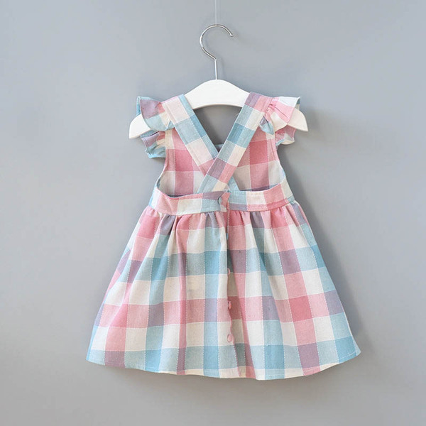 2018 ins selling summer girl kids plaid ruffles dress kids round collar sleeveless back hollow out elegant dress