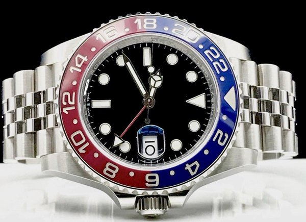 Reloj de alta calidad de lujo 126710 BKSJ Pepsi Cerámica Bisel Acero GMT Work Asia 2813 Movimiento automático para hombre